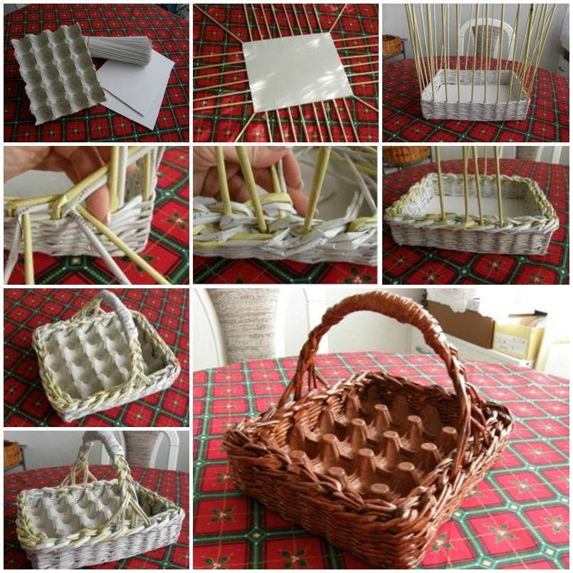 DIY Woven Paper Easter Egg Basket and Tray 1