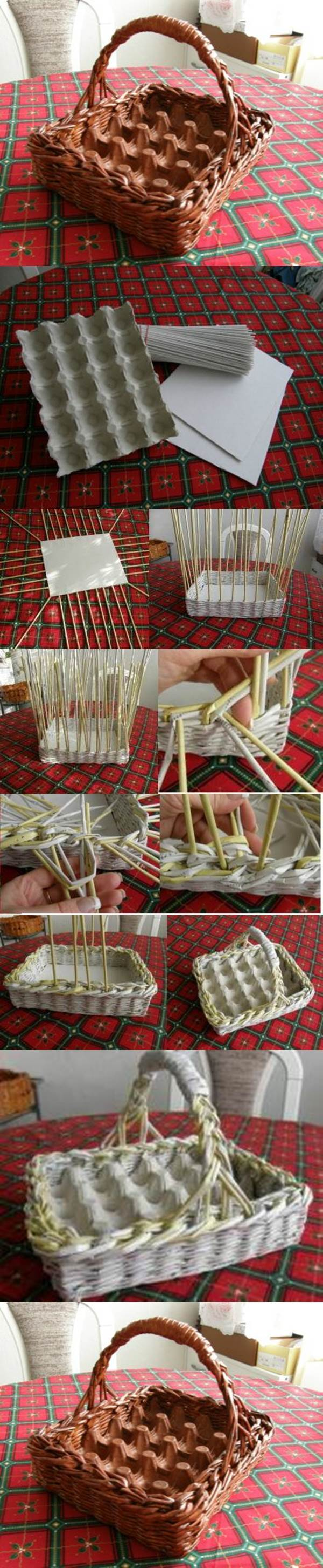 DIY Woven Paper Easter Egg Basket and Tray 2