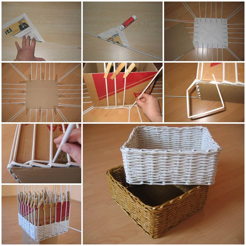 Diy woven paper storage box Homemade craft storage ideas
