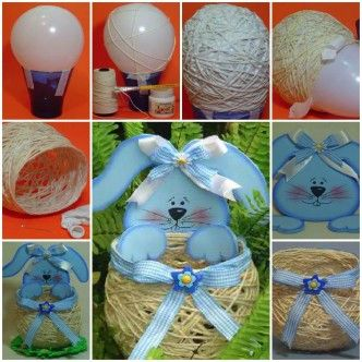 DIY Yarn String Easter Basket 1