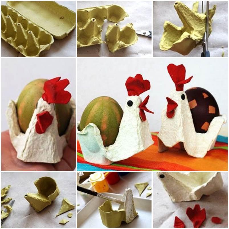 Egg carton craft chicken and egg for Plastic egg carton crafts