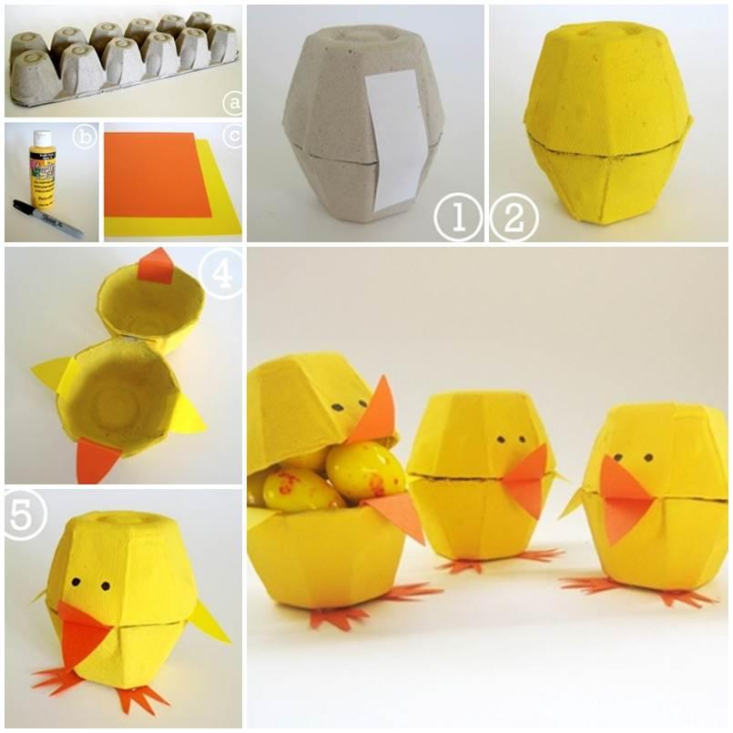 Egg carton craft lovely chicks 1 for Plastic egg carton crafts