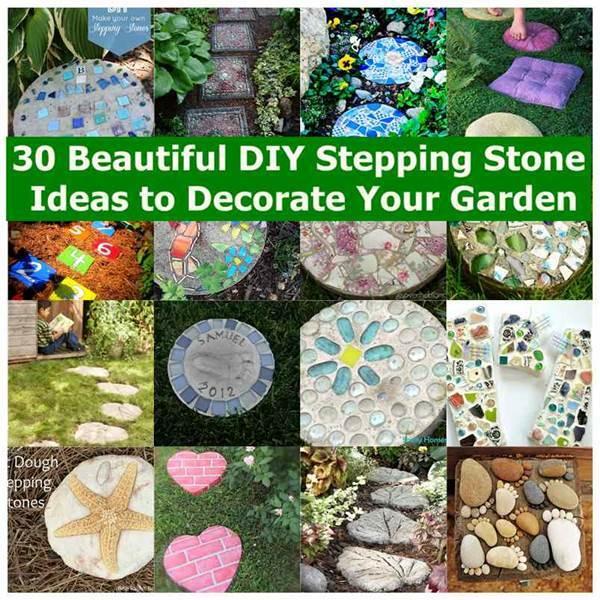 Creative ideas diy colored solar powered walkway for Garden stepping stone ideas
