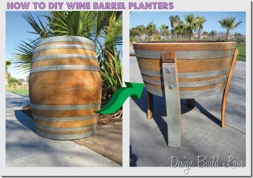 36 creative diy ideas to upcycle old wine barrels for Diy wine barrel planter
