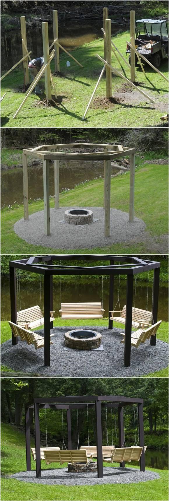 DIY Backyard Fire Pit with Swing Seats | iCreativeIdeas.com
