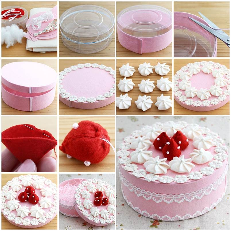 Diy Beautiful Gift Box Decorated Like A Cake