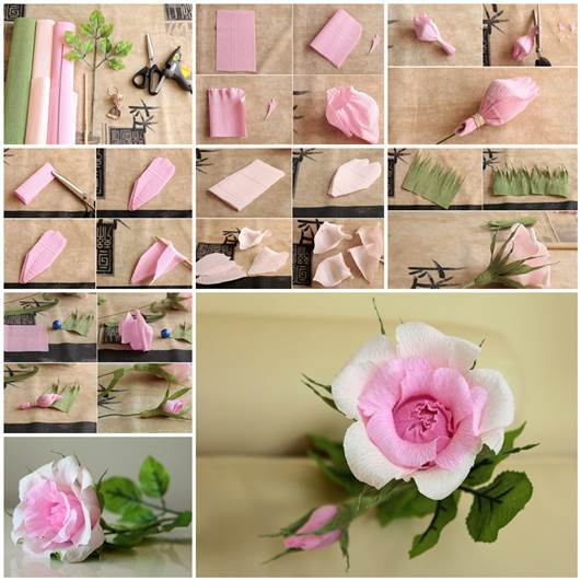 DIY Beautiful Pink Crepe Paper Rose 3