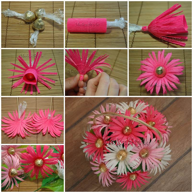 Цветы из гофрированной бумаги своими руками пошагово фото 20