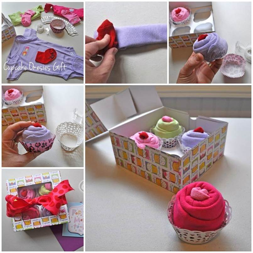 baby sock cupcake instructions