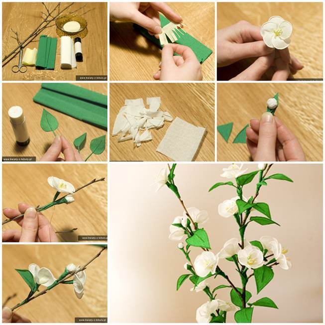 How To Make Crepe Paper Christmas Decorations : Diy delicate crepe paper cherry blossom sprig