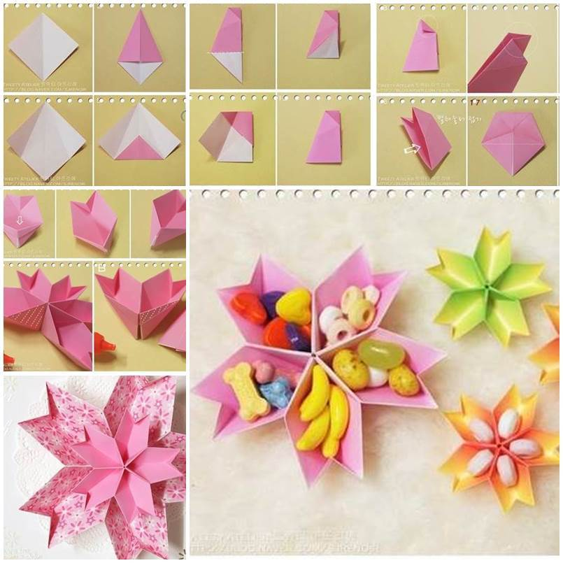 Diy origami paper flower dish for Diy paper origami