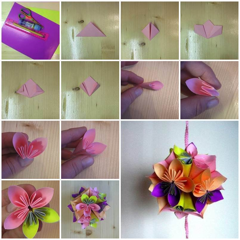 Diy origami paper flower ball for Diy paper origami