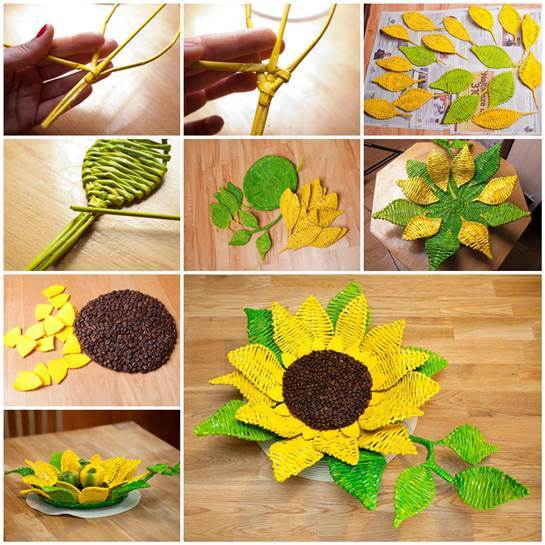 DIY Paper Woven Sunflower Tray 3