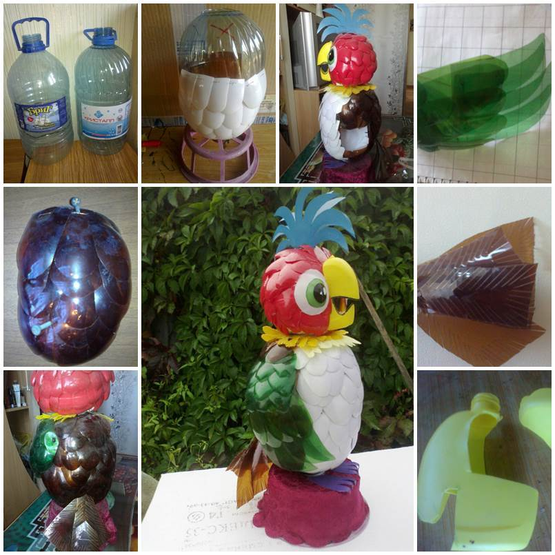 Diy parrot kesha from plastic bottles for Creativity with plastic bottles