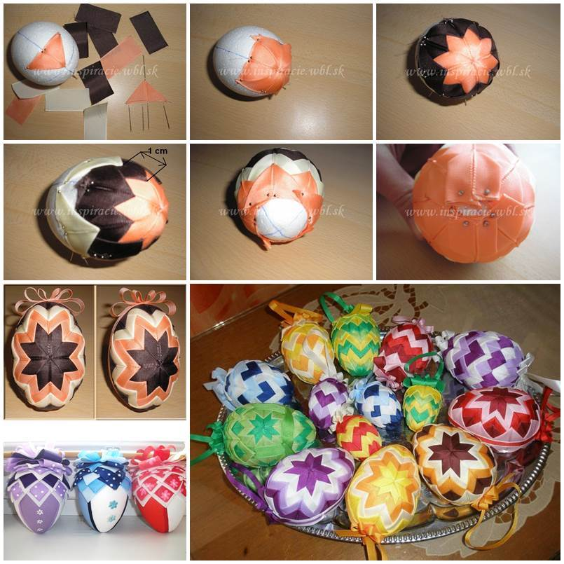 DIY Patchwork Decorated Easter Eggs