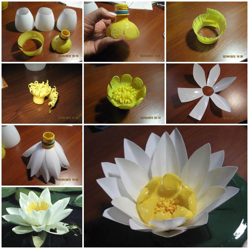 Diy plastic bottle water lily for Diy plastic bottle