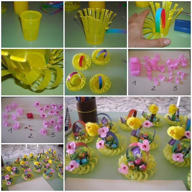 DIY Plastic Cup Easter Basket 1