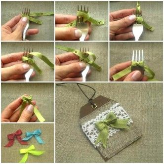 DIY Satin Ribbon Bow with a Fork 1