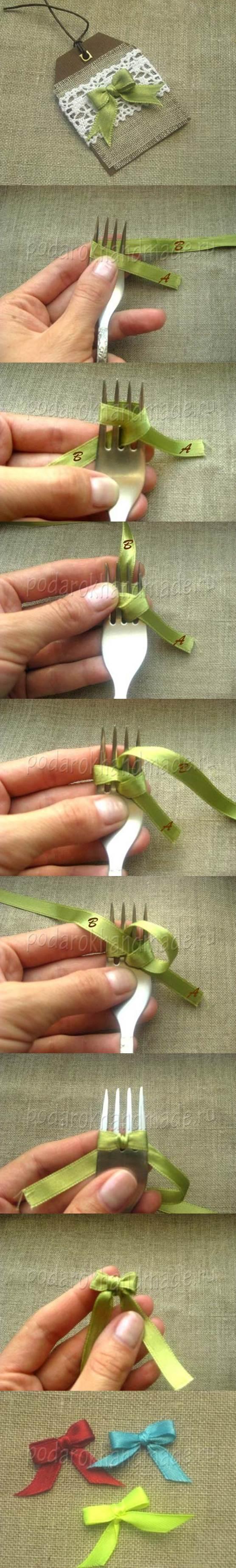 DIY Satin Ribbon Bow with a Fork 2