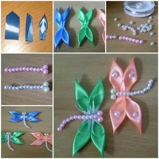 DIY Satin Ribbon Dragonfly Kanzashi