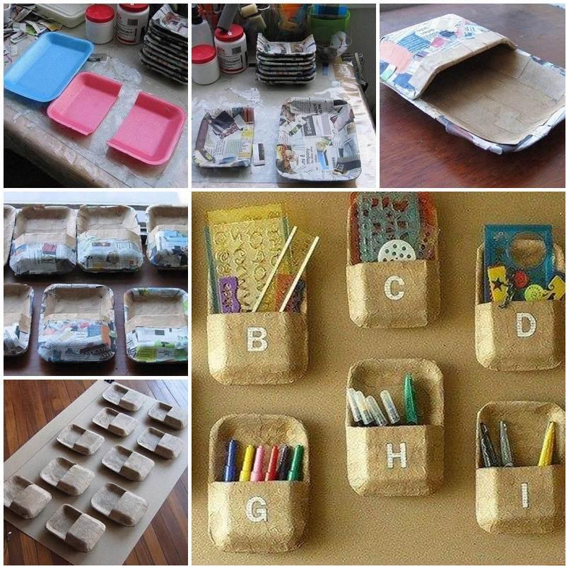 Diy wall organizer craftbnb diy wall organizer from foam trays solutioingenieria Choice Image