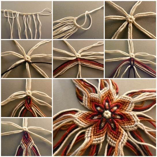 DIY No-Knit Weaving Flower of Yarn | iCreativeIdeas.com