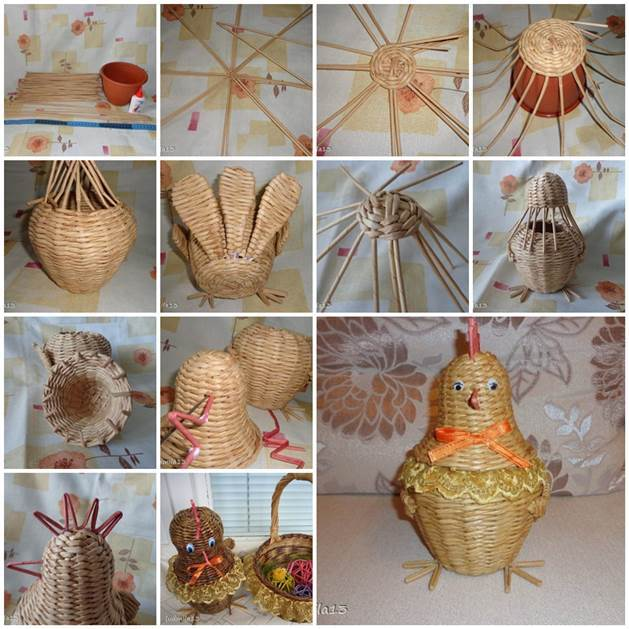 DIY Weaving Paper Chicken Basket 3