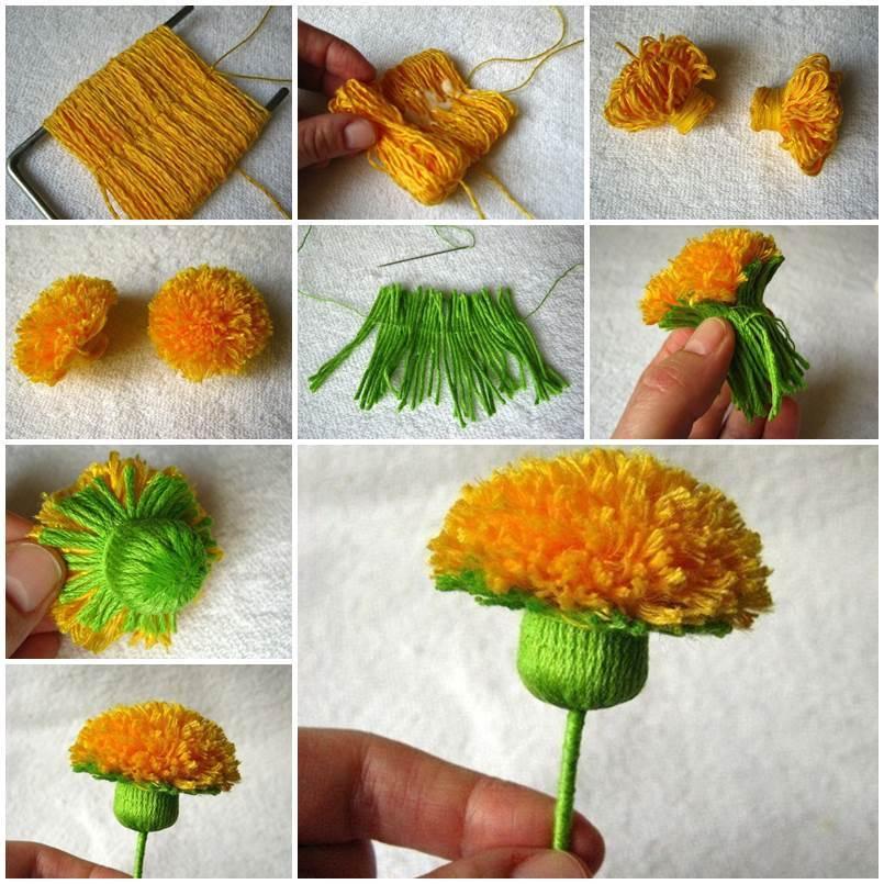 Diy wool yarn dandelion for Craft with woolen thread