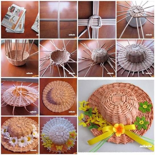 DIY Woven Paper Decorative Hat 3