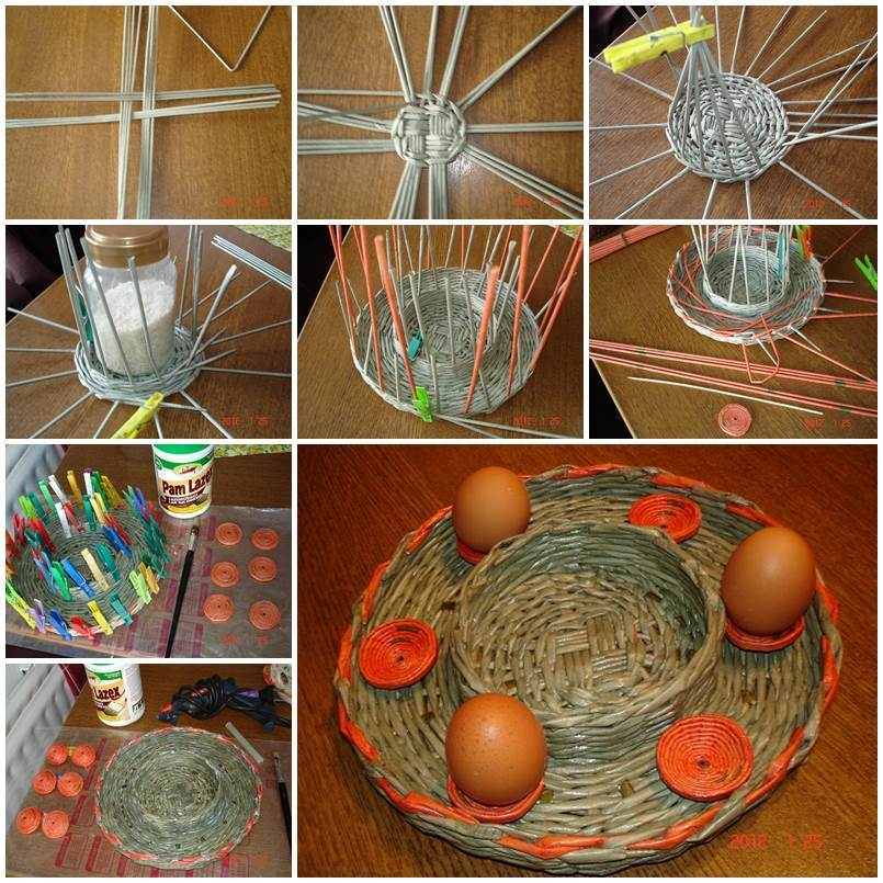 Diy woven paper easter egg basket and tray for Egg tray craft ideas
