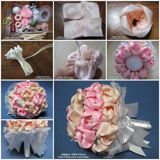 Wedding DIY Satin Ribbon Flower Bridal Bouquet With Bow