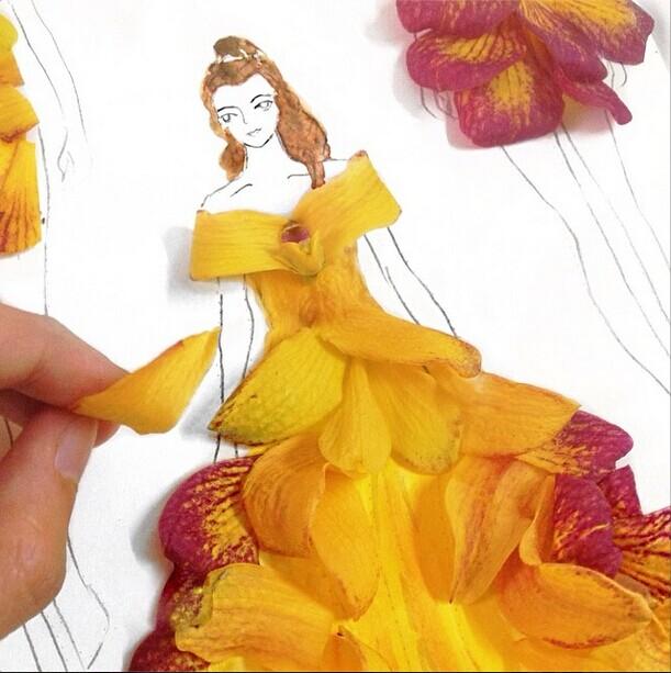 Home Design Ideas 3d: Creative Fashion Design Sketches Using Real Flower Petals