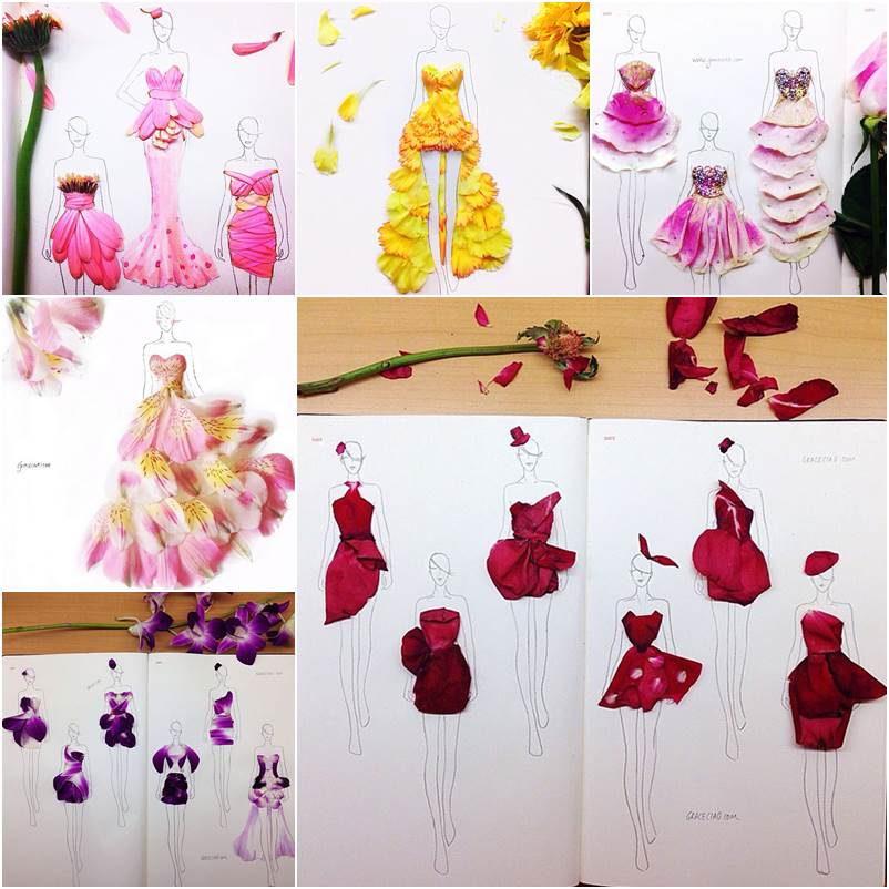 Creative Fashion Design Sketches Using Real Flower Petals