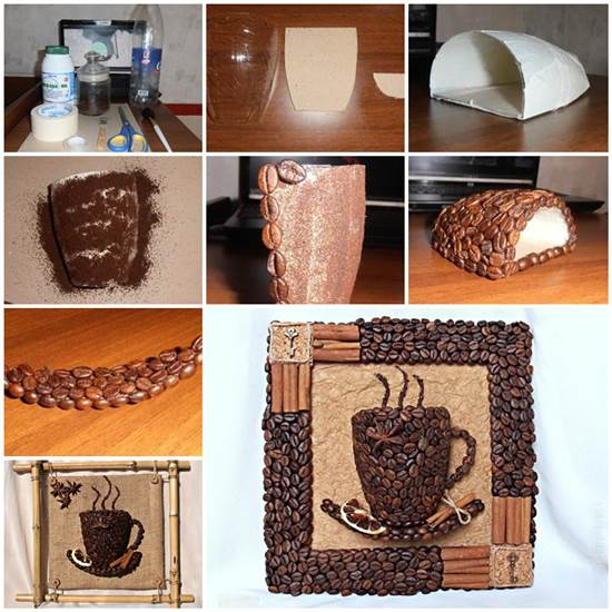 DIY 3D Coffee Cup Picture Decor With Beans