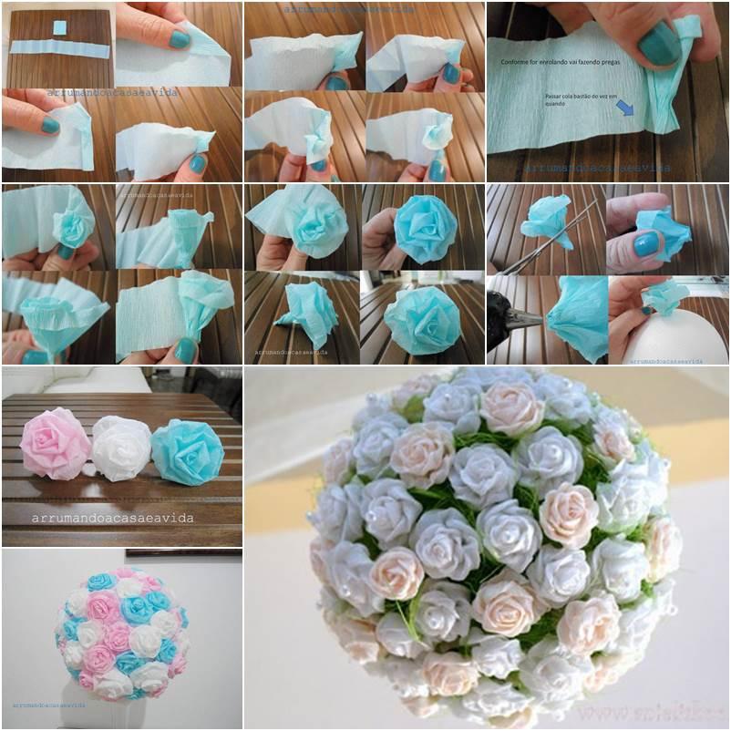 Как сделать цветочный шар из гофрированной бумаги