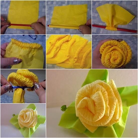 Как сделать своими руками розу из салфеток