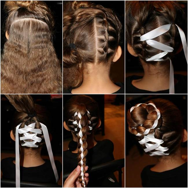 Terrific How To Diy Cute Braided Bun With Ribbon Hairstyle Short Hairstyles Gunalazisus