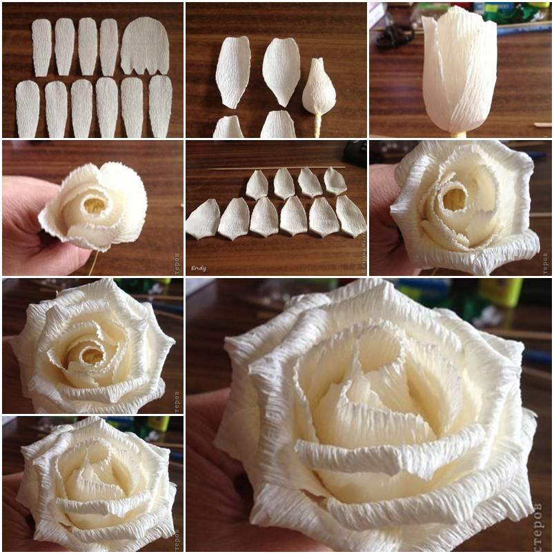 Роза из бумаги пошагово с