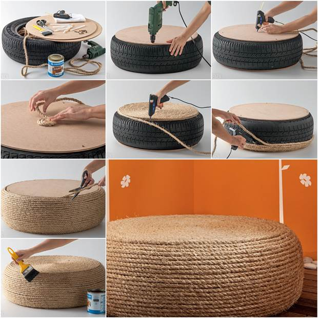 How To Diy Rope Ottoman From Old Tire Icreativeideas Com
