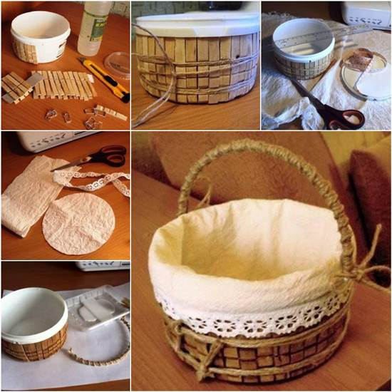 How to DIY Storage Basket from Recycled Plastic Container and Clothespins