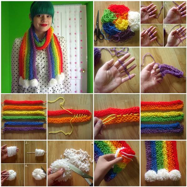 How to diy stylish finger knitted rainbow scarf