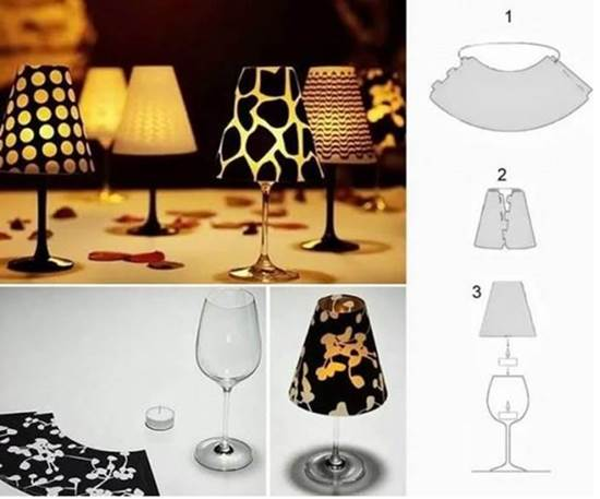 How to diy wine glass candle lampshades