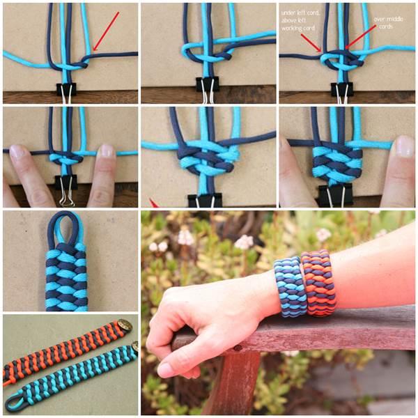 Basket Weave Paracord Bracelet Tutorial : How to diy woven paracord cuff bracelet