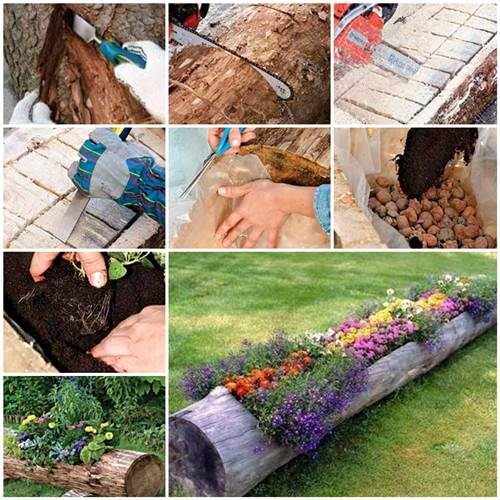 how to make beautiful log garden planter how to make a beautiful garden path