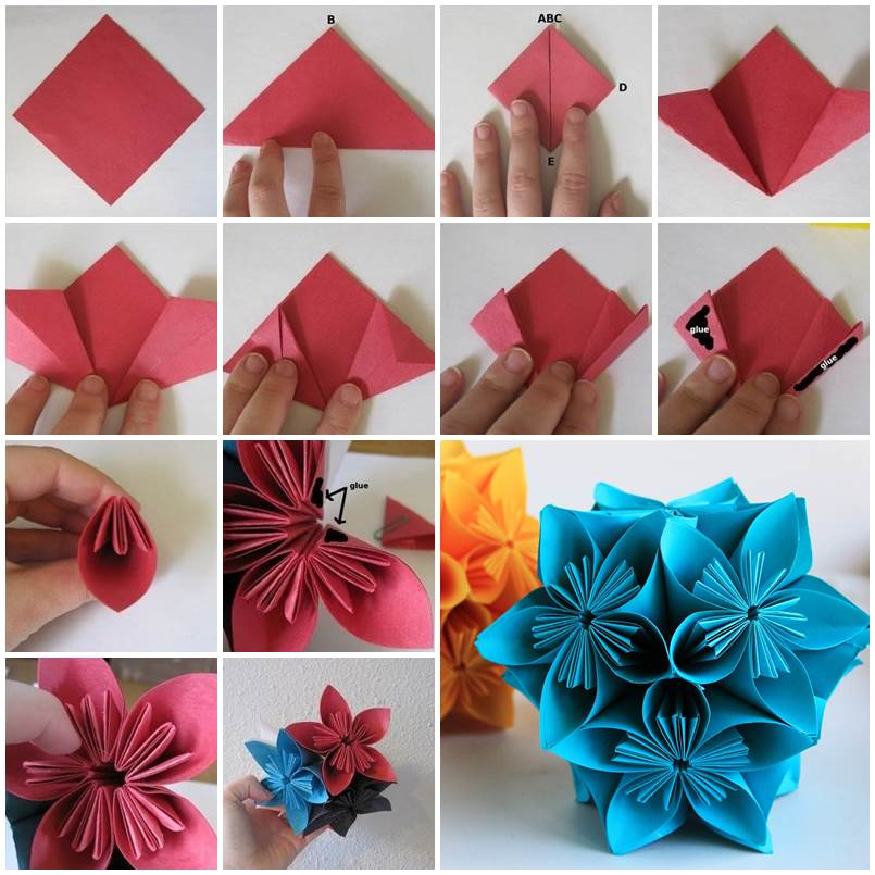 Christmas decorations using construction paper - How To Make Beautiful Origami Kusudama Flowers