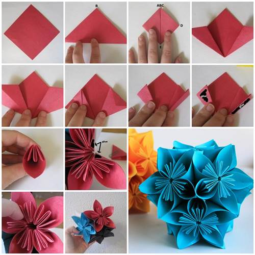 How to make beautiful origami kusudama flowers for How to make something creative with paper
