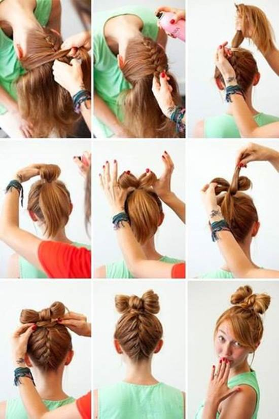 How to Make Upside Down Braided Bow Bun Hairstyle