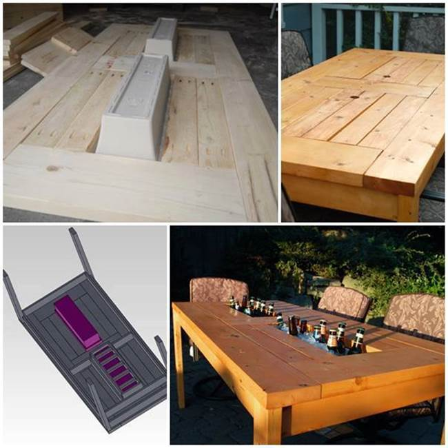 How to make a patio table with built in coolers step by for Patio table with built in cooler