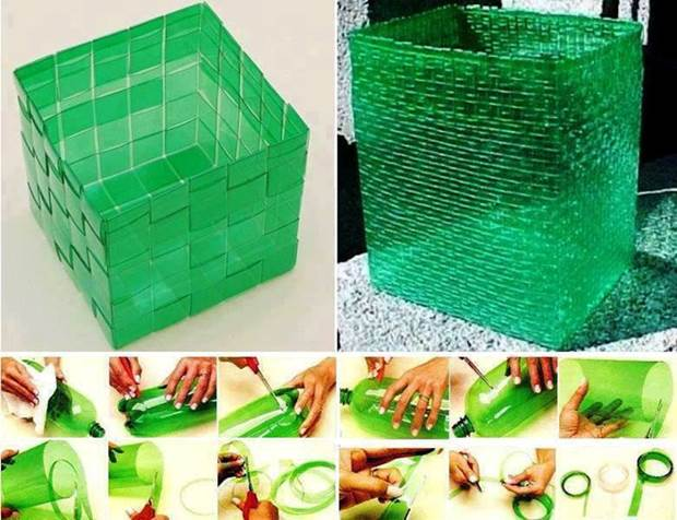 How to weave plastic baskets from plastic bottles for Creative use of plastic bottles