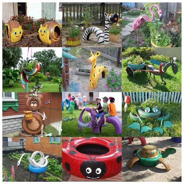 diy ideas to repurpose old tire into animal shaped garden decor